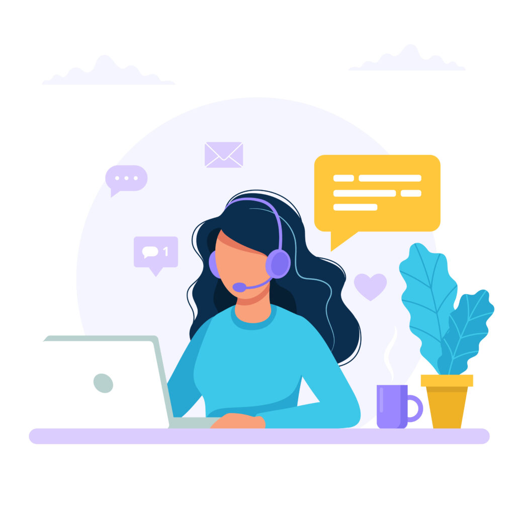 Illustrasjon av kvinne som jobber på kundeservice